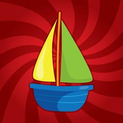 Cartoon sailing boat on dynamic background