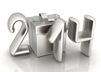Abstract 3d illustration of text 2014 with present box
