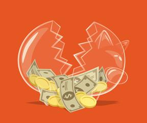 Broken glass piggy bank. Vector illustration.