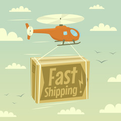 Helicopter and fast shipping. Vector illustration.