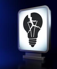 Finance concept: Light Bulb on billboard background