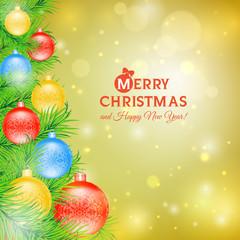 Christmas tree with balls of Christmas card