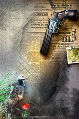 Background with revolver,stamp and gipsy