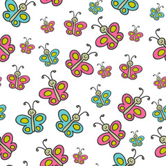 Cute childish seamless pattern with butterflies