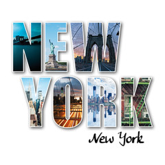 New York collage of different famous locations of the Big Apple.