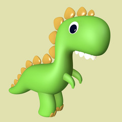 Cartoon funny green 3D Tyrannosaurus Rex dinosaur