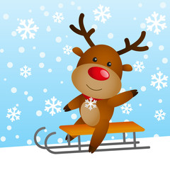 Funny deer on a sled