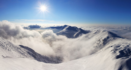 Winter mountain landscape with sun - Slovakia