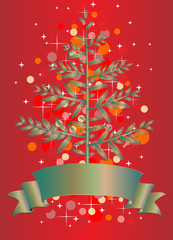 Christmas tree on red background vector eps 10