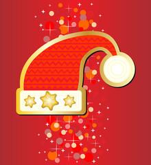 Santa hat on red background eps 10