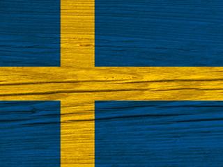 schweden flagge holz