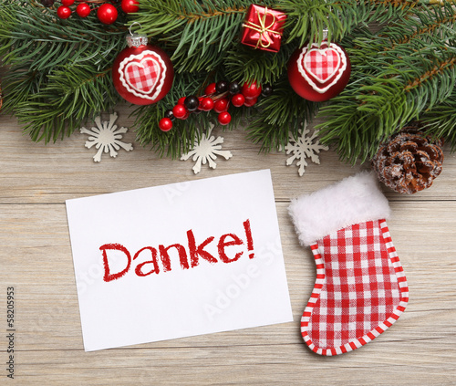 Danke Weihnachten Karte\