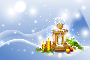vector illustration of Lantern in Christmas Night with candle