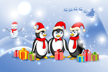 vector illustration of Penguin in Christmas Night