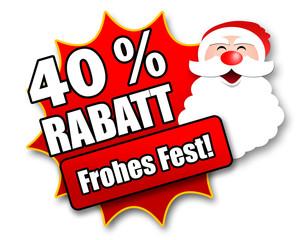 "Siegel ""40 Prozent Rabatt - Frohes Fest!"""