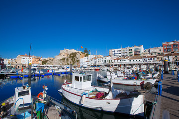 Ciutadella Menorca marina Port view Town hall
