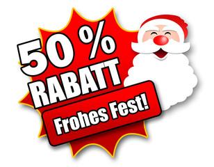 "Siegel ""50 Prozent Rabatt - Frohes Fest!"""