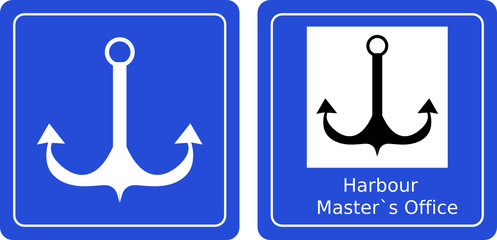 anchor and harbor sea sign