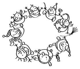 Vector silhouettes of funny snowmen dancing in circle.