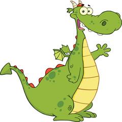 Green Dragon Cartoon Mascot Character Waving For Greeting