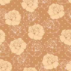 Vector floral patter roses, polka dots on brown background
