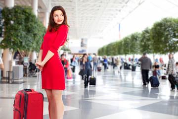 Beautiful woman in airport.