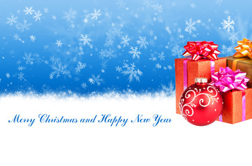 Merry Christmas and Happy New Year blue background