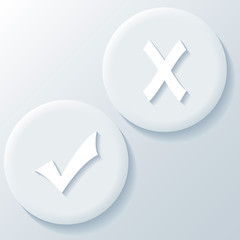 Yes No 3D Paper Icons