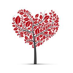 Abstract vector heart shaped tree