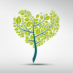 Abstract vector heart shaped green tree on grey background