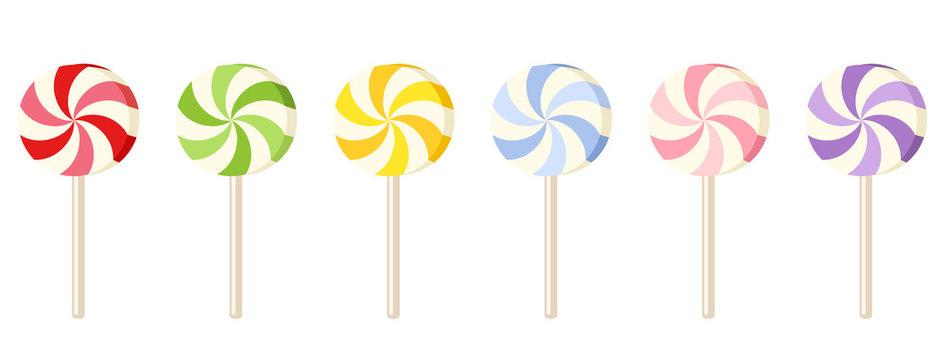 Six colorful lollipops. Vector illustration.