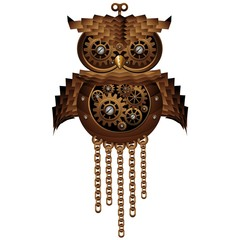 Wall Mural - Steampunk Owl Style Mechanical Toy-Gufo Meccanico Antico