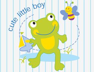Illustration vector of cute green frog