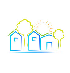 Houses tree and sun logo background vector