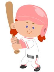 野球する少女