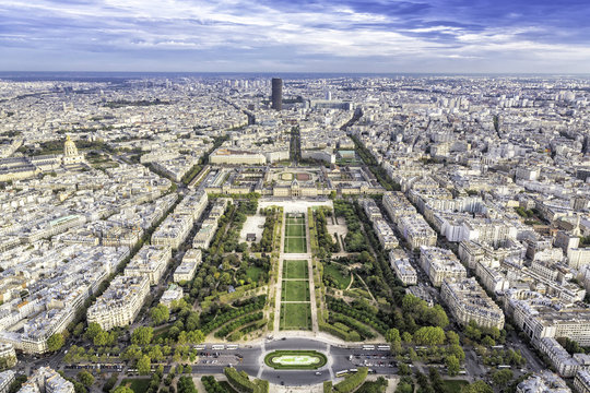 Aerial View on Champ de Mars and Invalides in Paris