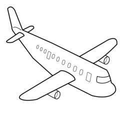Airplane cartoon outline vector