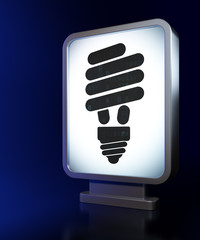 Business concept: Energy Saving Lamp on billboard background