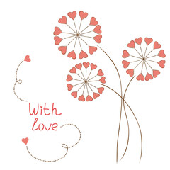 Greeting card with hearts-flowers in hand drawn style