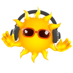 Sunshine has headphones on