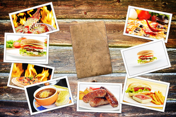 food photo pile on wooden table