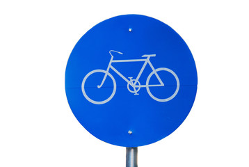 Photo of a bicycle road sign close-up isolated on white
