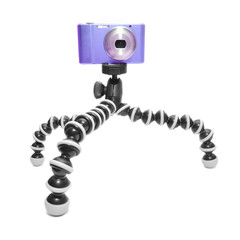 compact camera on tripod