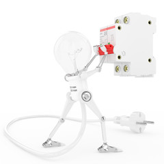 Robot lamp turn on an electric breaker