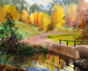 Autumn landscape painted by watercolor