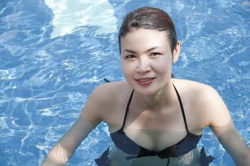 Beautiful Asian woman in swimming pool.