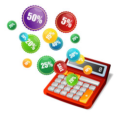 Vector calculator and sale labels