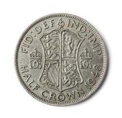 Old British half crown coin