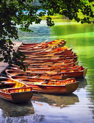 Wall Mural - Boats in the national park Plitvice