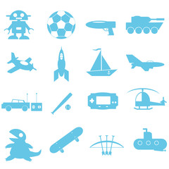Toys for boy icon on white background